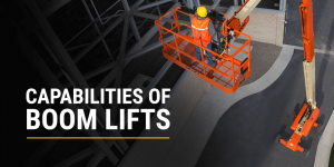 JLG boom lift in use
